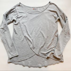 ZELLA Gray Cross Front Long Sleeve Top XS